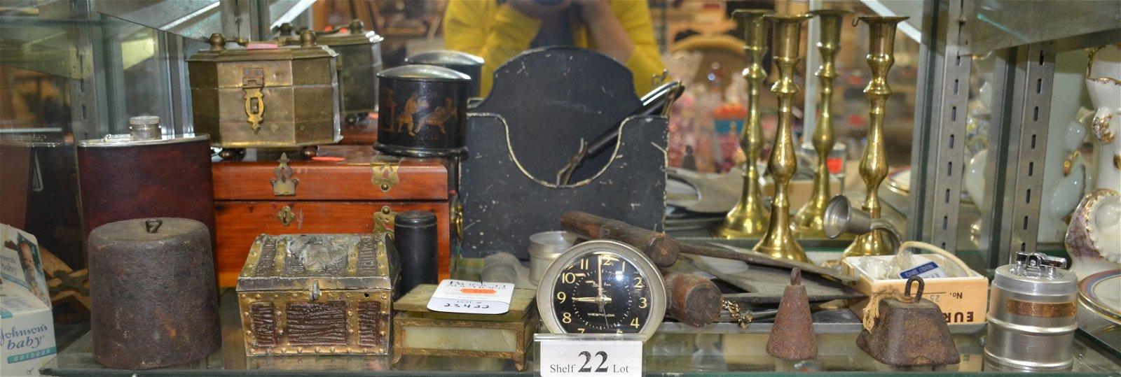 Shelf #22 - Wood, Brass and Metal Items