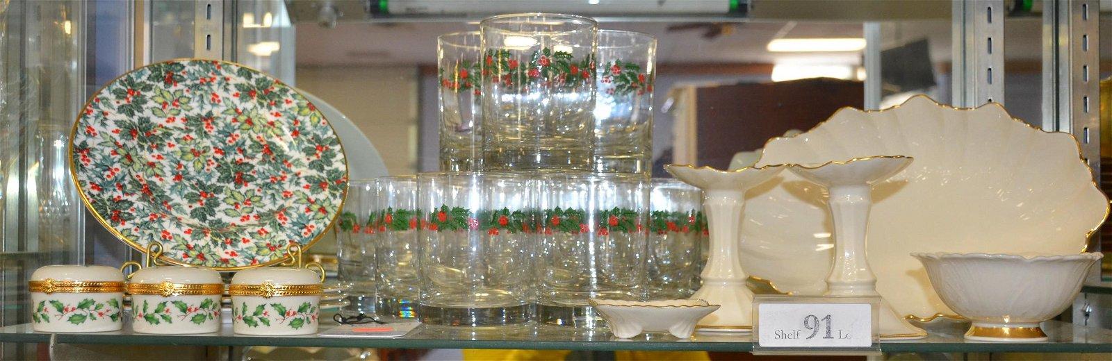 Shelf #91- Holiday Glass and Lenox