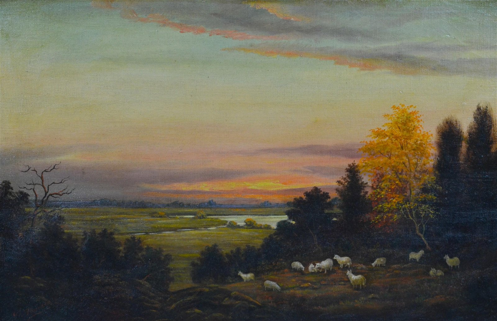 A. Thorsen Continental Landscape with Sheep