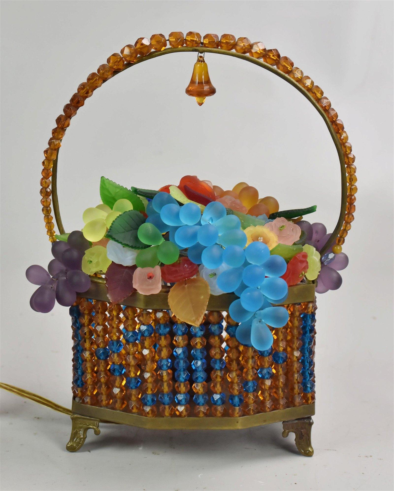 Art Deco Beaded Glass Basket Lamp
