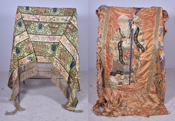 (2) Antique Chinese Silk Embroidered Panels