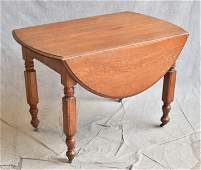 Oak Victorian drop leaf kitchen table with rounded