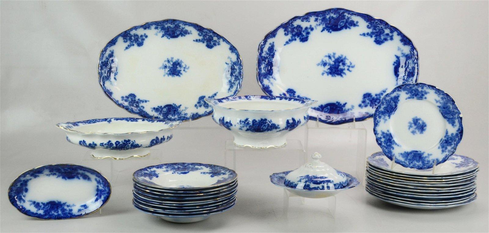 "(29) Pcs""Arcadia"" Flow Blue Dinnerware"