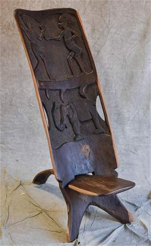 African carved wood folding chair