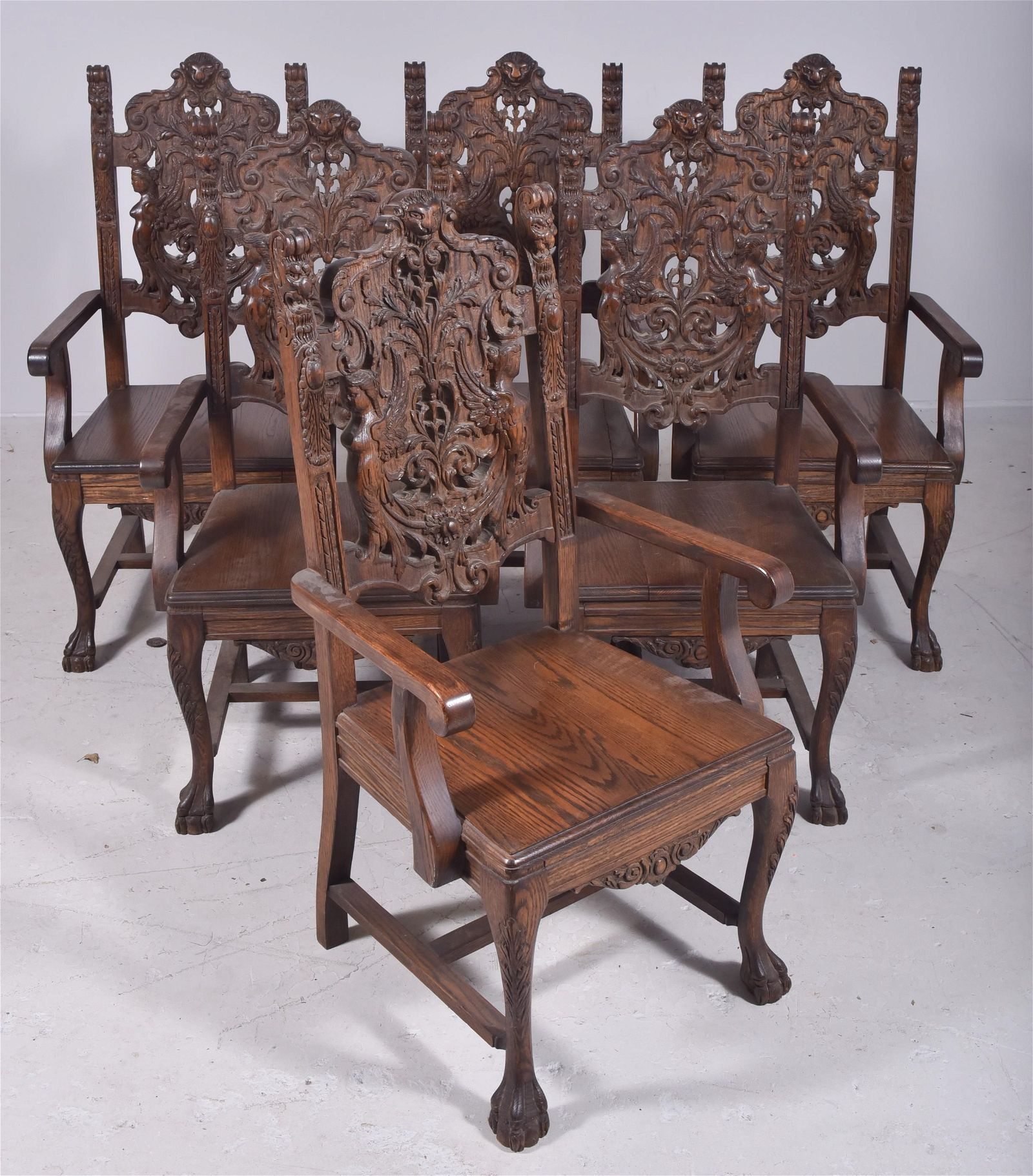 (6) Oak carved armchairs