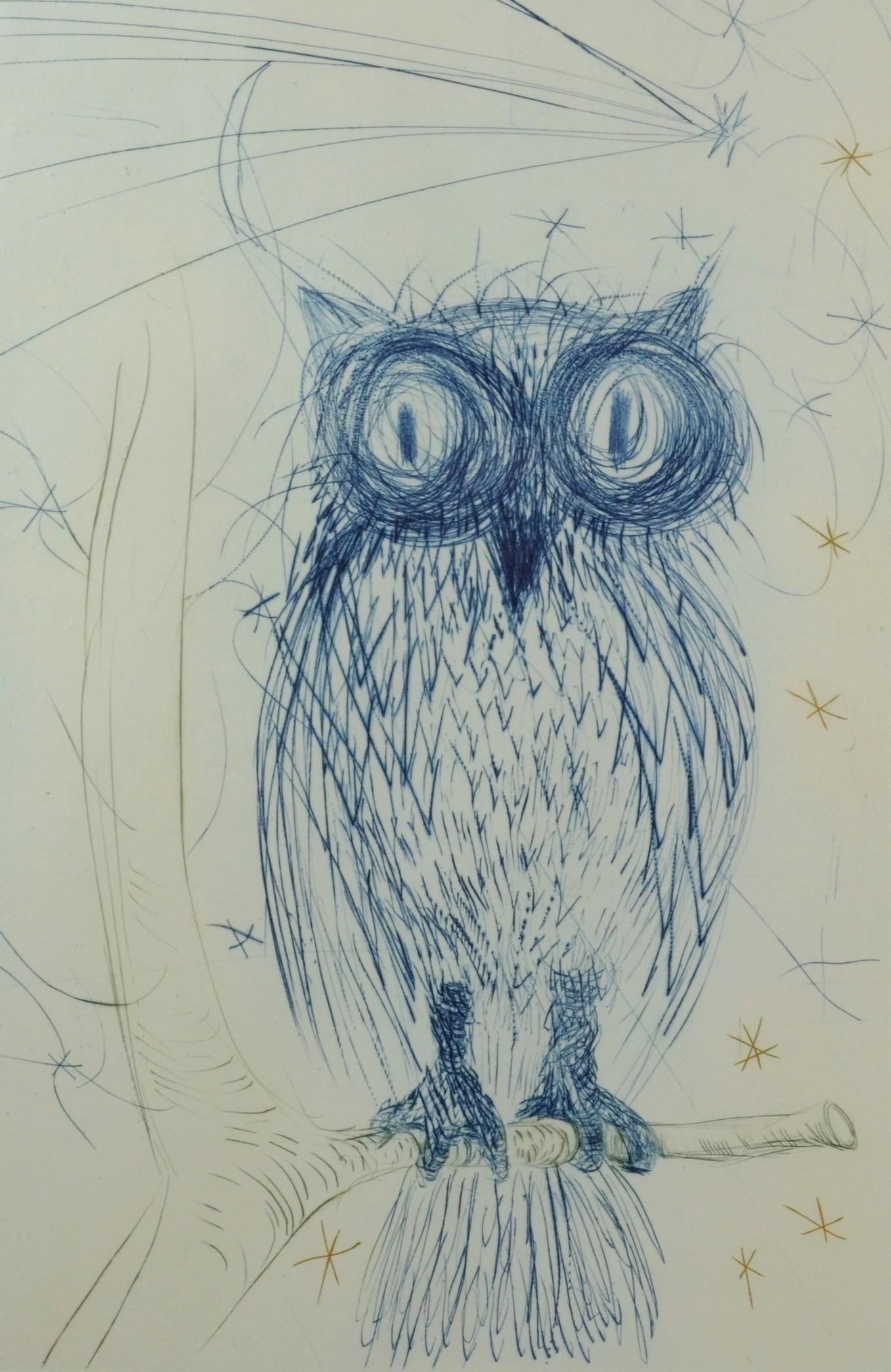 """Salvador Dali Etching """"La Chouette Bleue"""""""