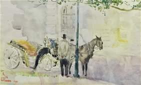 "Chen Chi Watercolor Painting "" waiting"""
