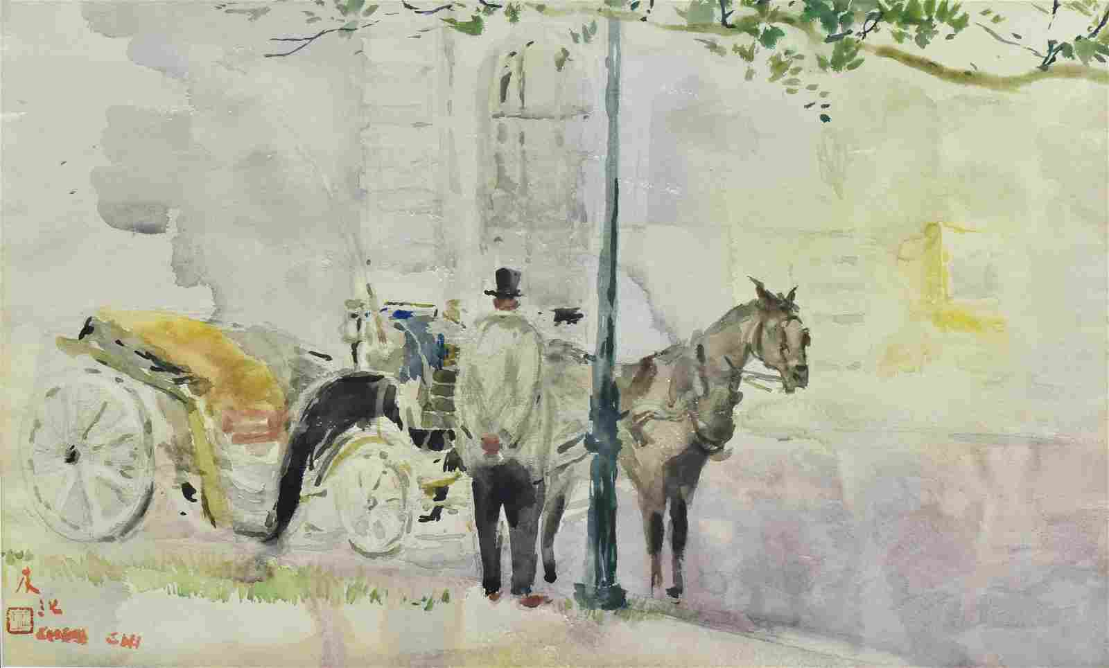 "Chen Chi Watercolor Painting "" waiting"""