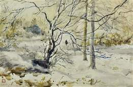 "Chen Chi Watercolor Painting "" winter Landscape"""