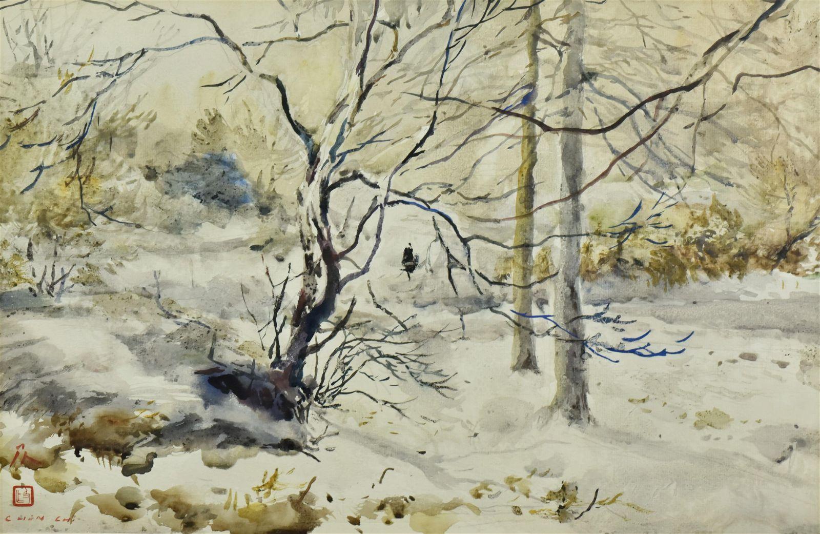 "Chen Chi Watercolor Painting "" winter Landscape"""