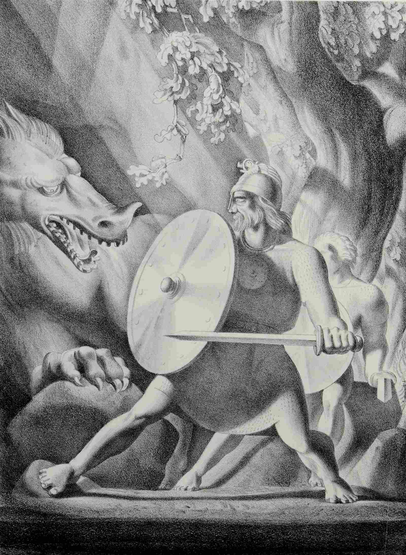 """Rockwell Kent Lithograph """"Beowulf & The Dragon"""""""