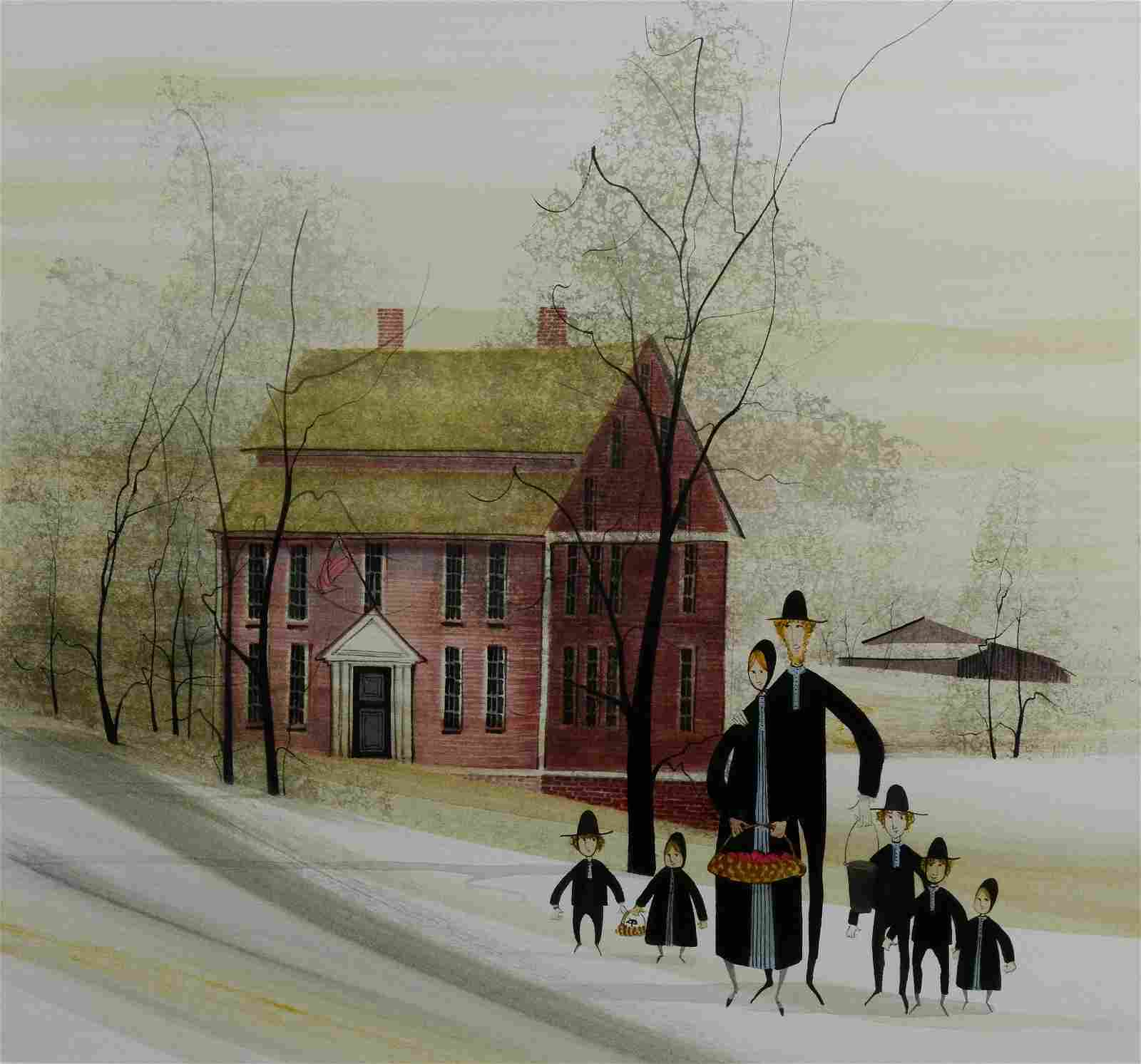 """P. Buckley Moss Watercolor """"Amish Family"""""""