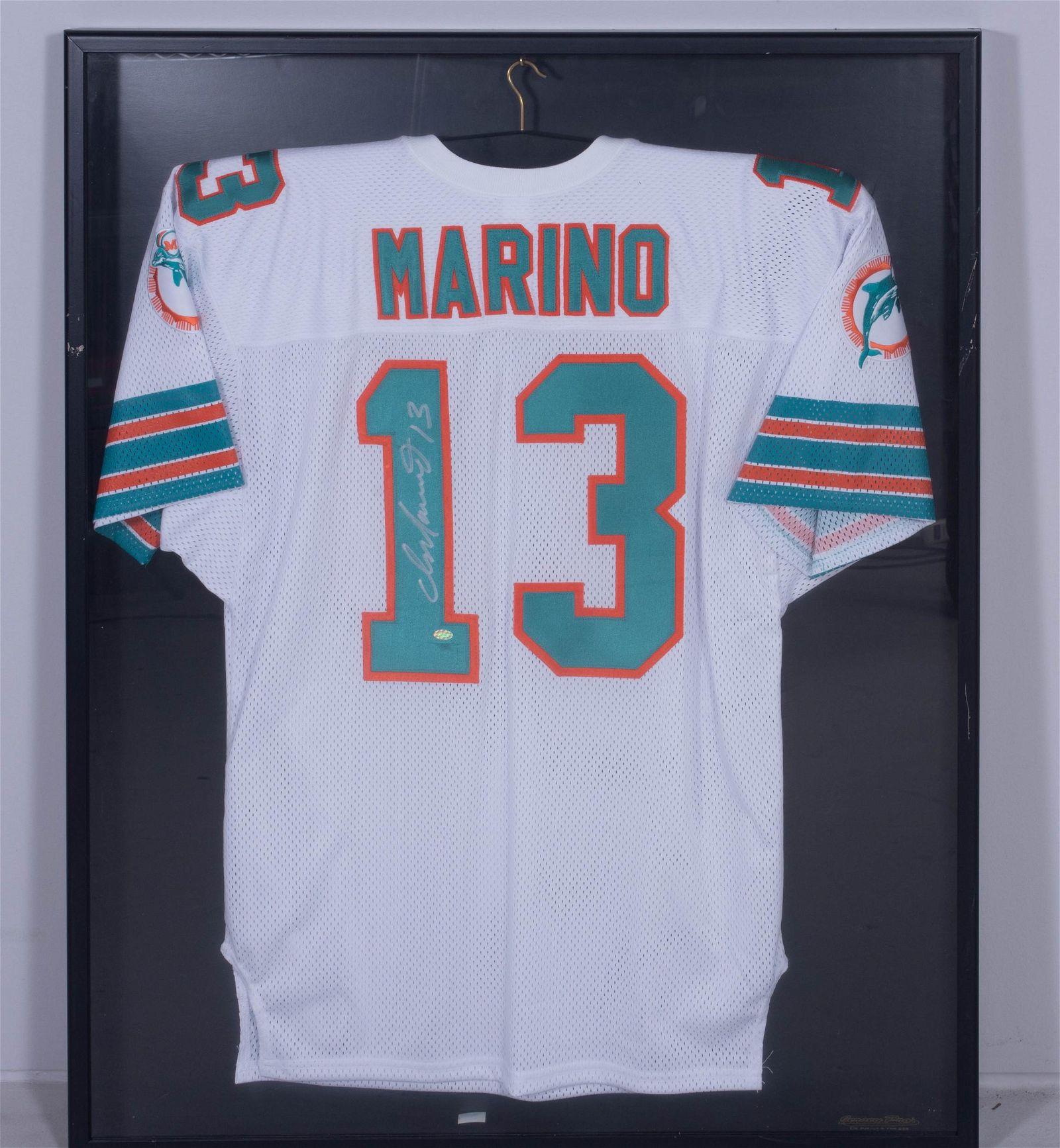 Dan Marino signed Miami Dolphin white home jersey
