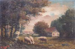 Antique American Landscape Painting with Sheep