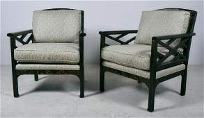 Pr Baker Chinoiserie caned lounge chairs 36h