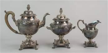 Harvey Lewis PHL 181126 3 pc coin silver tea set
