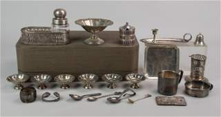 Lot misc sterling silver c/o 7 pc cased nut set, more