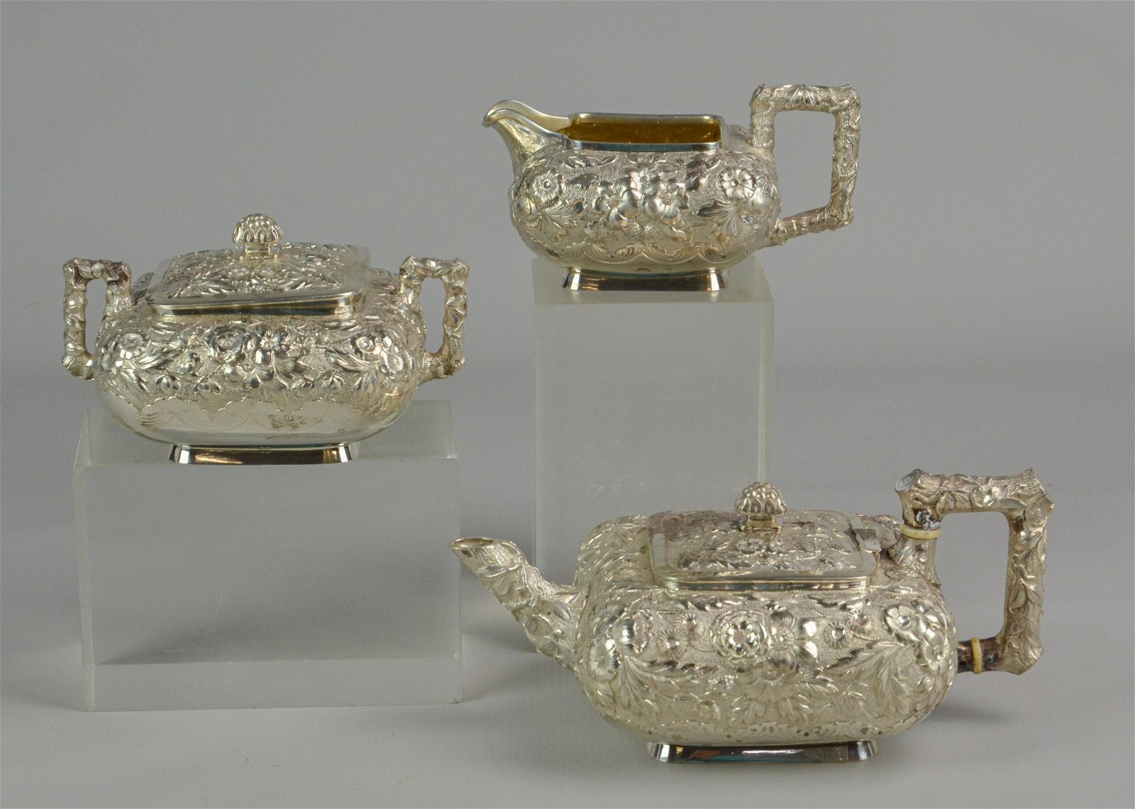 3 pc Whiting Mfg Co sterling repousse tea set