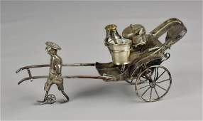 Chinese Silver Plate Figural Condiment Set