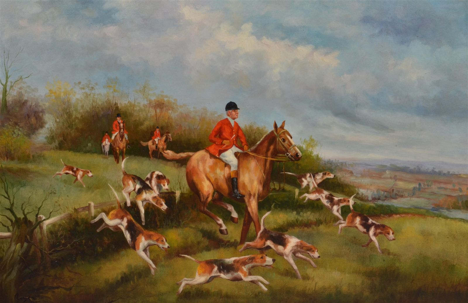 Large Reproduction Painting of a Hunt Scene