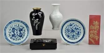 (6) Asian Pcs.: Box, Plates, Vase, Ink Stone