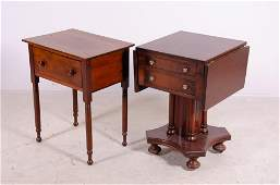 Mahogany Empire drop leaf work table, Sheraton stand