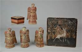(6) Pcs Folk Art Pottery