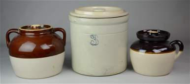 3 Gallon Stoneware Crock and 2 Bean Pots