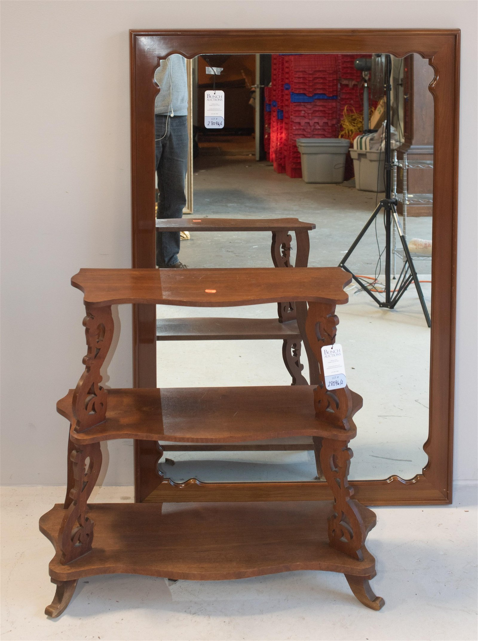 Victorian carved 3-tier shelf, hanging wall mirror