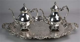 3 Pcs Silver Plate Tray Teapot Coffee pot