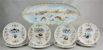 M Redon Limoges porcelain fish platter