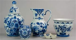 5 Pcs Delft Blue  White Pottery
