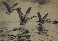 "Frank Weston Benson ""Three Geese Alighting"""