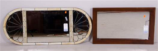 Mirror w stained glass mahogany framed mirror