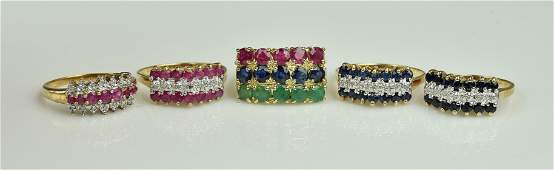 (5) 10KY Ruby sapphire and Emerald Gemstone Rings