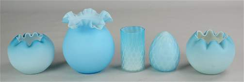 5 Pcs Blue Satin and Quilted Satin Glass