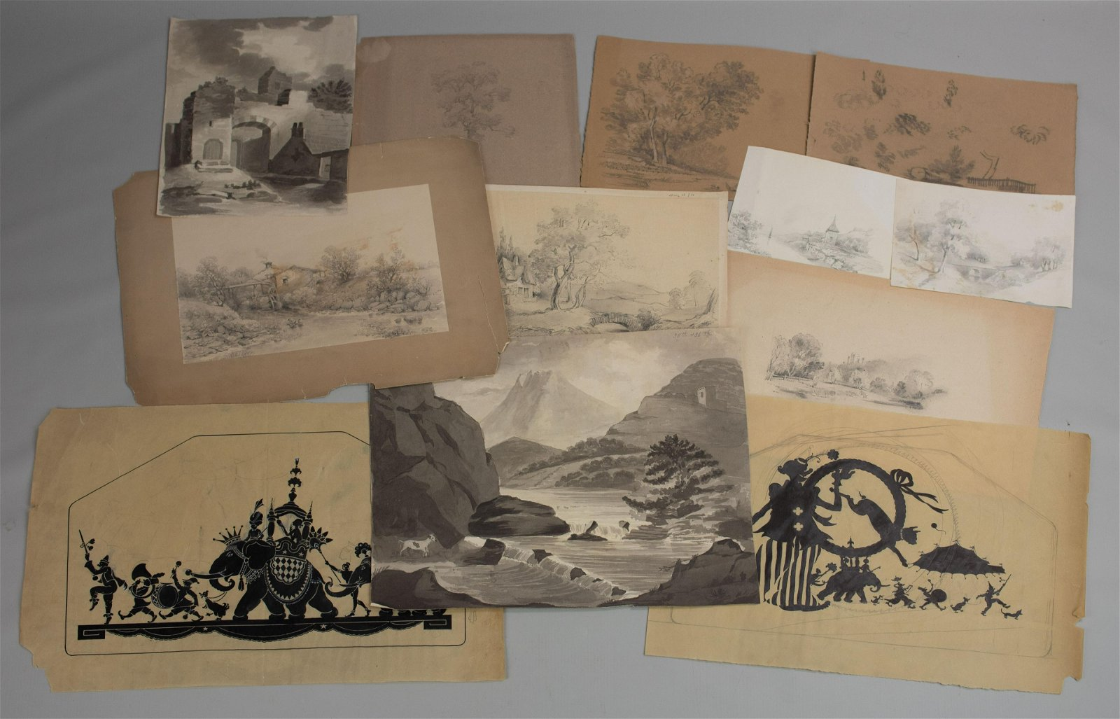 (12) Vintage & Antique Drawings & Sketches