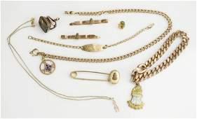(9) Pcs Antique Masonic Gold filled Alpha Delta Pi