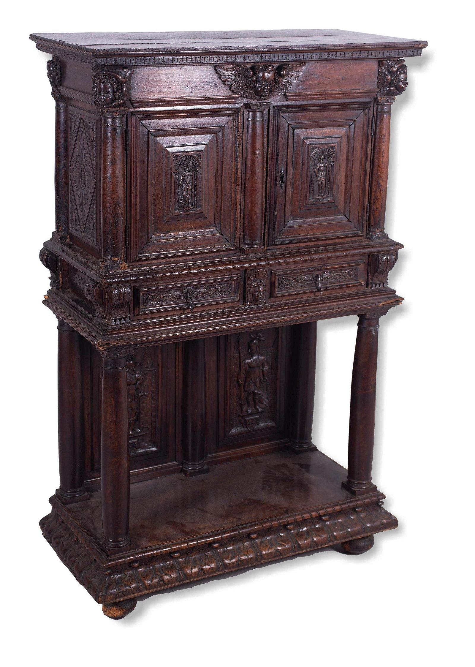 Henri IV style walnut figural carved dressoir