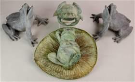 """(4) Bronze garden frogs, pair 9"""" h x 12"""" w x 10"""" d"""