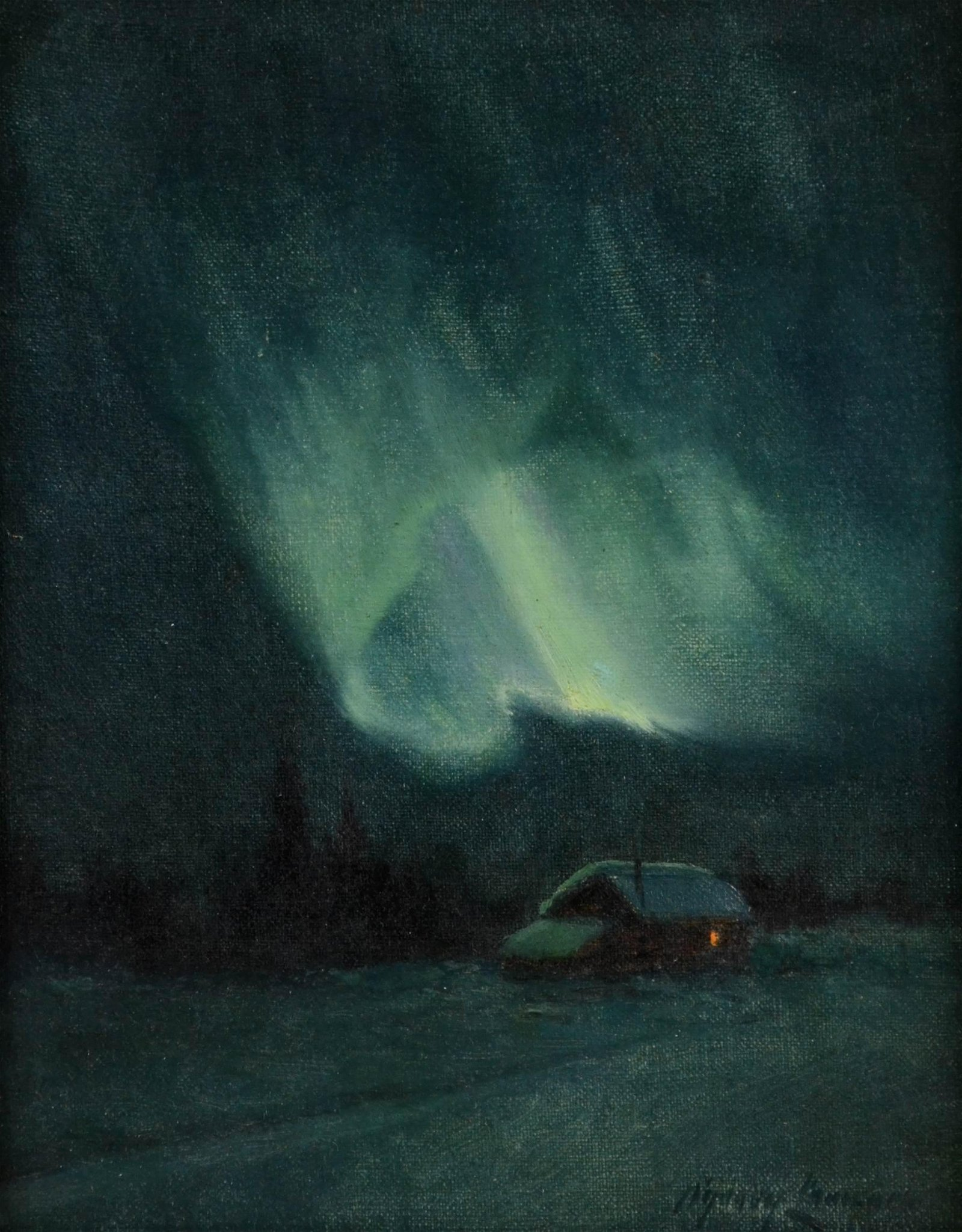 """Sydney Laurence Painting """"The Northern Lights"""""""