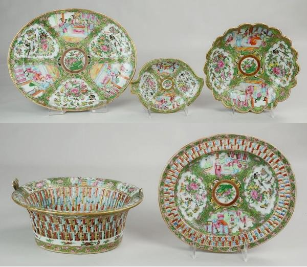 (5) Pcs Chinese Rose Medallion Porcelain