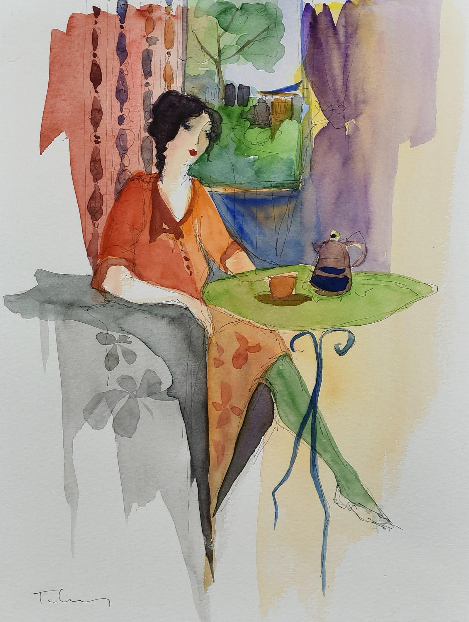"Itzchak Tarkay Watercolour Painting ""Seated Girl"""