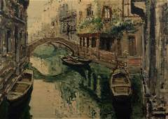 20th C Venetian Impressionist Painting Venice Canal