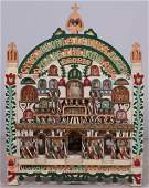 Carved and painted Folk art Religious shrinetemple