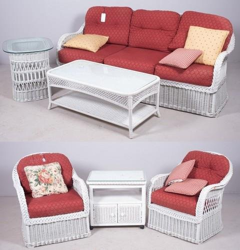(6) pc Henry Link Trading Co white wicker patio set