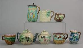 (8) Majolica Pitchers, Cups, Teapot and Sugar