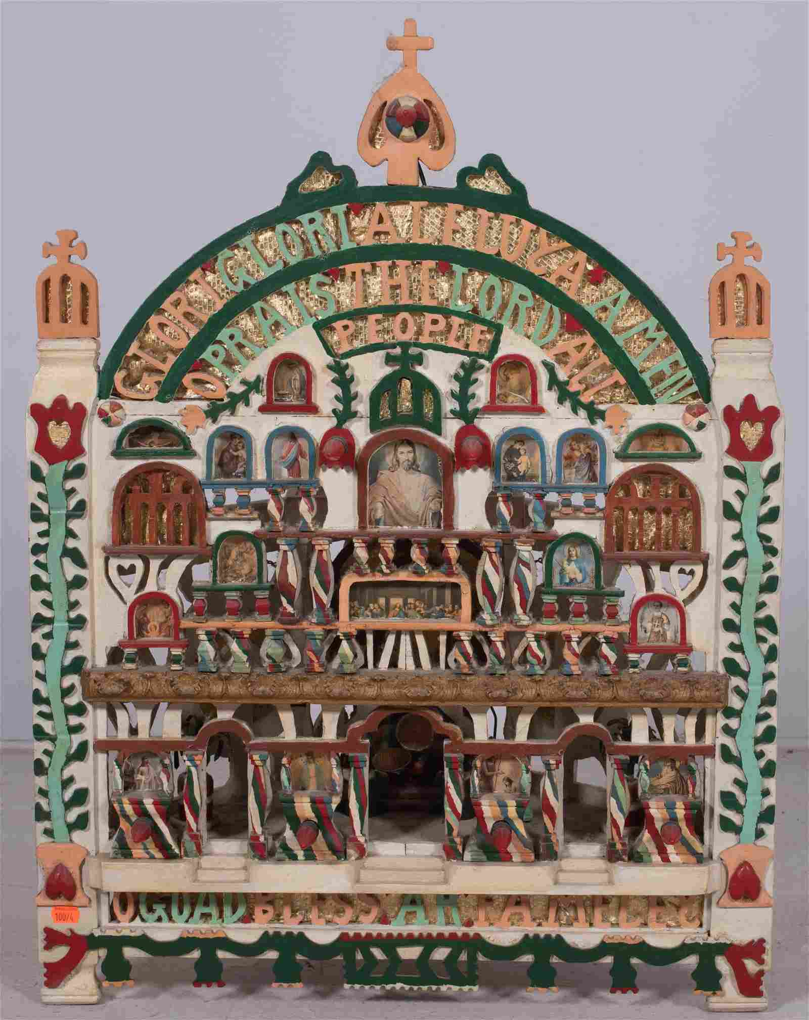 Carved and painted Folk art Religious shrine/temple