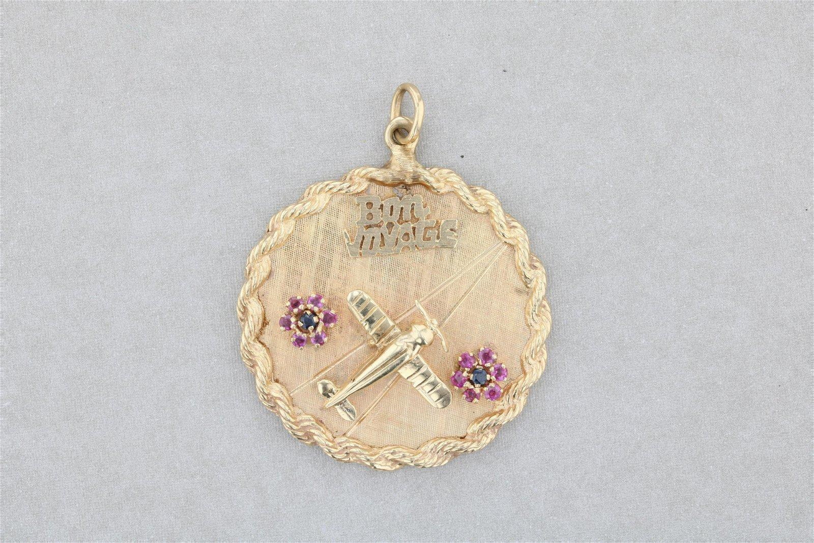 14K Custom Made Bon Voyage Round Medal