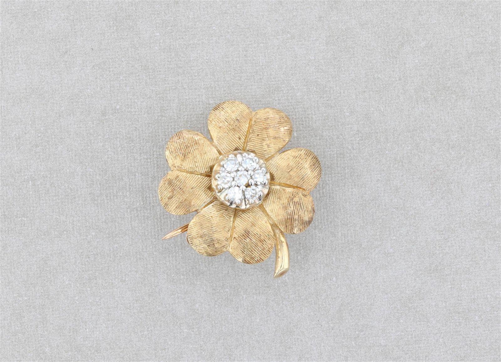 14K Gold and Diamond Four Leaf Clover Brooch
